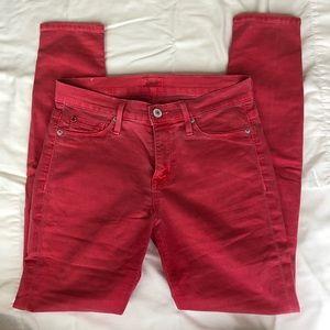 Hudson Nico Mid-Rise Super Skinny Pink Jeans